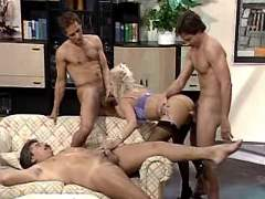 Three men fucking milf in all holes