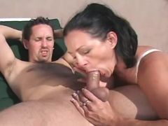 Horny milf sucks appetizing cock of guy on court