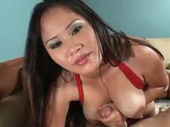 Chesty asian babe sucks strong cock and titsfucks