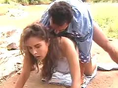 Horny slut fucks outdoor