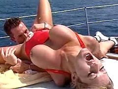 Big tits blonde beauty gets deep fucked on boat