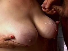Chesty granny fucked and gets cumload on boobs