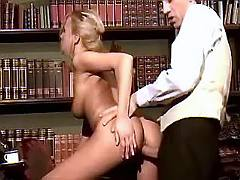 Young blonde office girl fucked by horny bosses