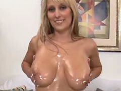 Goddess shows her big oiled boobs and masturbates
