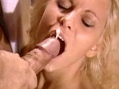 Horny blonde babe catching cum after assfucking