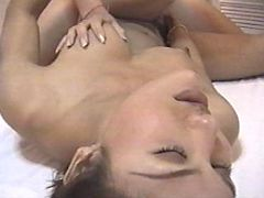 Hot Asian shemale takes sausage in ass on wide bed