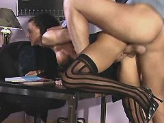Lady sucks n fucks on office table