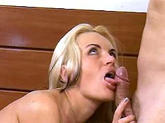 Slut takes dick in mouth