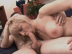 Hot blond busty mature does blowjob