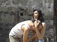 Lusty bloke fucking with arrogant brunette outdoor