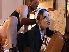 Man fucks beauty maid in stockings in two holes