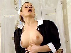 Smooth housemaid in stockings seducing her master