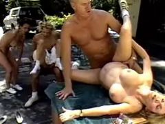 Lustful sexy grannies hard fucked by men outdoor