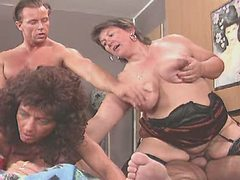 Busty mature BBW in group sex with horny dude