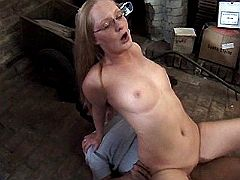 Cute redhead mommy gets roughly screwed on floor