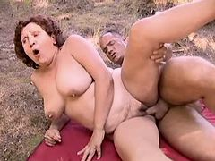 Chubby aged mature fucking outdoor