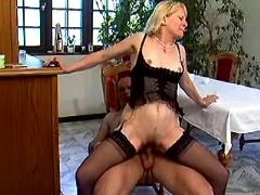 Depraved old madam in stockings fucked by man